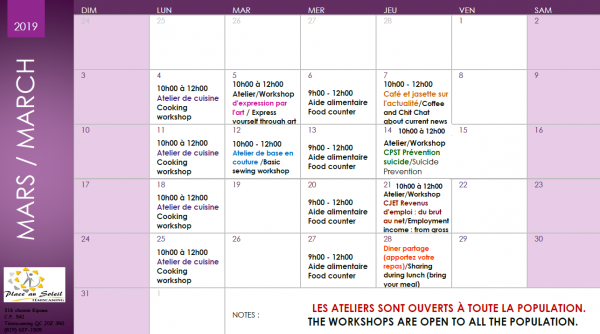 Calendrier Soleil.Association Place Au Soleil Activite De Mars 19